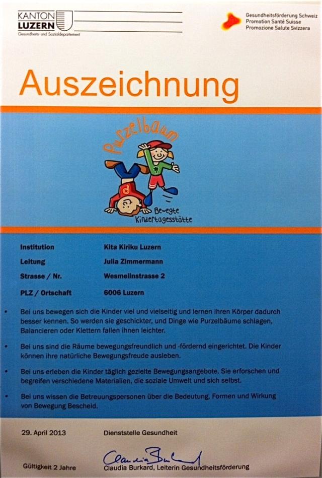 Purzelbaum Auszeichnung 2013 Kita Kiriku Luzern